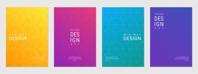 Vector set of cover design template with minimal geometric patterns, modern different color gradient. Fototapete