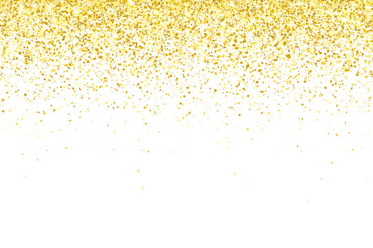 Gold glitter particles on white background. Vector