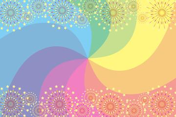 和風背景素材壁紙,渦巻き,打ち上げ花火,スターマイン,夏祭り,花火大会,伝統行事,虹色,集中線,風物詩,夜景