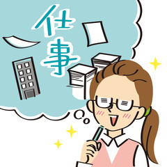 仕事に関することを想像する事務服の女性