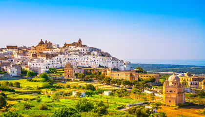 Ostuni white town skyline and church, Brindisi, Apulia, Italy.