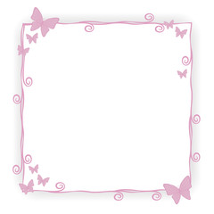thin pink princess frame border stroke beauty with small pink butterflies curls spirals cute simple geometric square with shadow objects isolated on white background