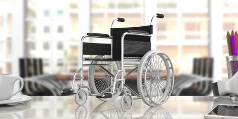 Wheelchair empty on an office desk, blur business background. 3d illustration
