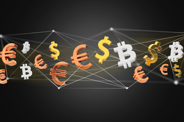Dollar, Euro and Bitcoin signs flying around a network connection - 3d render