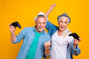 Happiness draw emotion expressing leisure hobby entertainment enjoy concept. Close up photo portrait of two funny funky amazed surprised rejoicing people spending time together isolated background