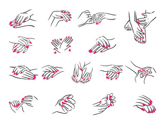 Closeup of hands of a young woman with  manicure vector illustration on nails against white background.