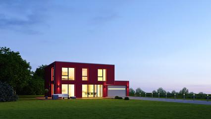 Moderne Villa 19 am Abend