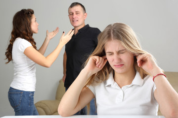 teenage girl was upset because of the conflict parents