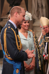 Britain's Prince William and Catherine, Duchess of Cambridge arrive at Westminster Abbey for a service to mark the centenary of the Royal Air Force (RAF), in central London
