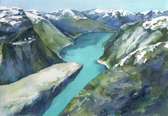 Breathtaking view of Trolltunga, Norway with fjord and beautiful mountains in the background. Watercolor hand drawn illustration.