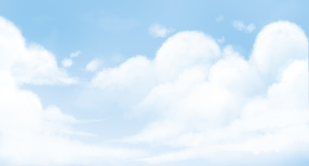 Digital illustration painting of blue sky white clouds background, children's illustration styles.