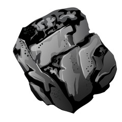 A fragment of stone coal. The source of energy and useful minerals isolated on white background. Vector cartoon close-up illustration.