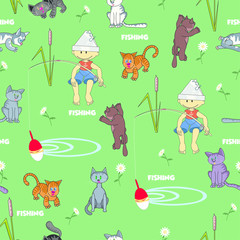 Seamless pattern fishing. Vector seamless pattern depicting a fisherman boy surrounded by curious cats. Background, seamless pattern and text are located on separate layers.