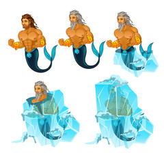 Stage of freezing and thawing of sailor mermaid man isolated on white background. Vector cartoon close-up illustration.