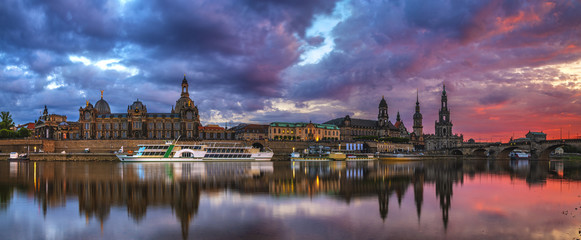 Dresden city skyline -evening panorama of the city ,Dresden, Saxony, Germany