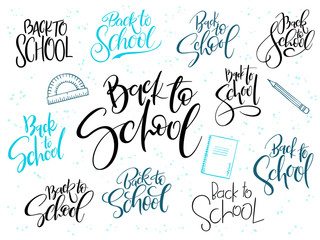 vector holiday hand lettering back to school label with doodle stationery and dots