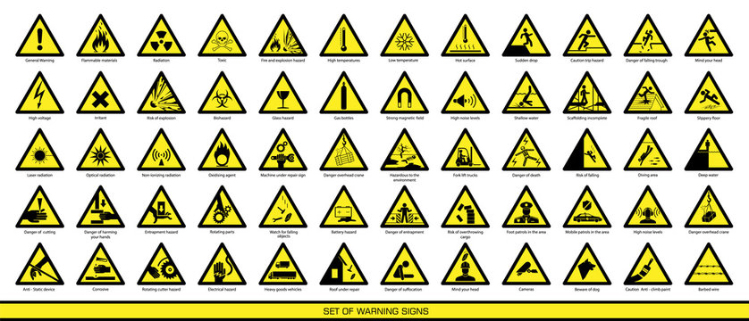 Collection of warning signs. Set of safety signs. Caution signs. Signs of danger and alerts.