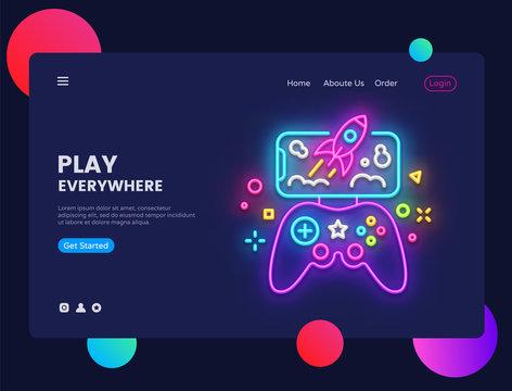 Gamer website concept banner Vector design template. Play Everywhere light banner in neon style, modern trend design, bright nightlife advertisement. Vector illustration