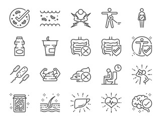 Probiotics icon set. Included icons as intestinal flora, intestinal, bacteria, healthy, yogurt, intestine and more.