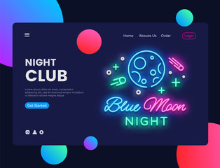 Night Club concept banner. Blue Moon Night Club Neon Sign, can use for web banner, infographics, website template. Club Music Party Invitation. Vector illustration isolated