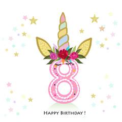 Eighth birtday. Eight. Unicorn Birthday invitation. Party invitation greeting card