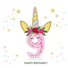 Nineth birtday. Nine. Unicorn Birthday invitation. Party invitation greeting card