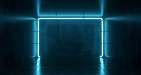 Abstract Futuristic Sci Fi Concrete Room With Different Glowing Neon Lights And Reflections  Space For Text 3d Rendering