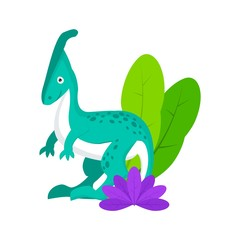 Adorable little dinosaur vector illustration for kids fashion, funny dino in cartoon style. Ideal for cards, invitations, party, banners, kindergarten, baby shower, preschool and children room decor