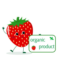 Cute Strawberry cartoon character holds a plate of organic foods.
