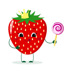 Cute Strawberry cartoon character with crown holds a lollipop.