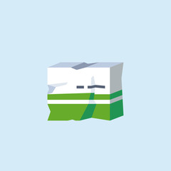 A vector illustration icon of a badly damaged cardboard medicine packaging. Concept for damaged goods.
