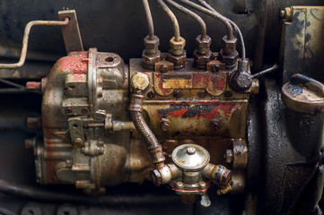 Tractor engine vintage steampunk with trademark removed