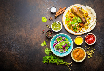 Wall Mural - Biryani chicken and indian dishes