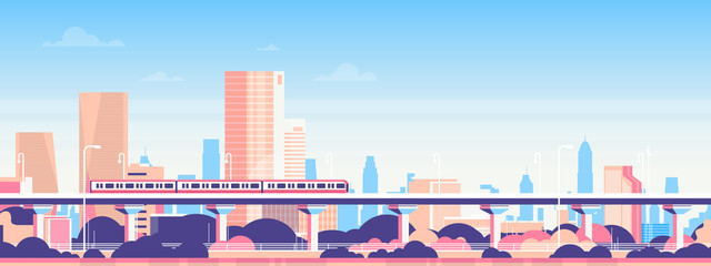 Subway over city skyscraper view cityscape background skyline flat banner vector illustration
