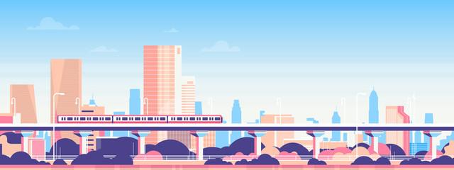 Photo sur Plexiglas Piscine Subway over city skyscraper view cityscape background skyline flat banner vector illustration