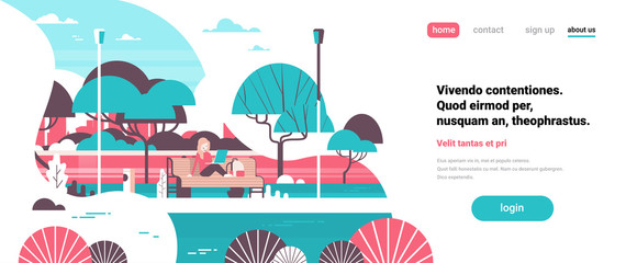 Foto auf Acrylglas Weiß city park woman holding laptopn sitting wooden bench streel lamps trees river landscape background banner copy space flat vector illustration
