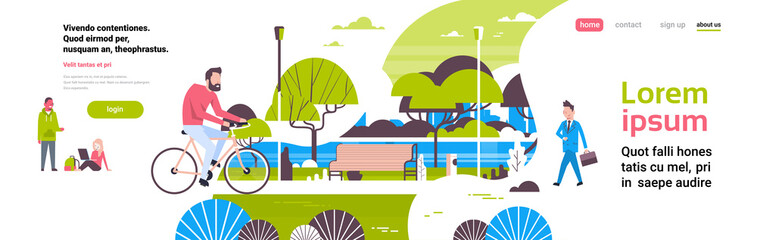 man cycling bike city park people activities green lawn trees wooden bench river landscape background copy space banner flat vector illustration