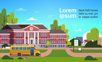 yellow bus in front of school building pupils transport concept 1 september cityscape background flat horizontal copy space vector illustration