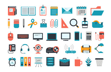 Office Supplies. Set of business and office icons.