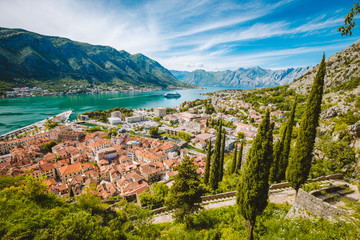 Historic town of Kotor with Bay of Kotor in summer, Montenegro