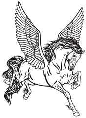 Pegasus mythological winged horse . Black and white tattoo vector