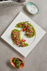Ahi Tuna Seviche with Radish Slices and Rucola