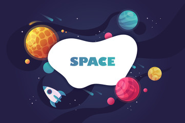 horizontal space background with abstract shape and planets. vector illustration