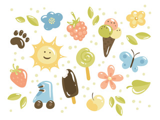 Set of summer icons: sun, pet footrint, ice-cream, raspberry, lollypop, butterfly, roller skates, apple, strawberry, flowers, leaves. Cute vector illustration with collection of summer symbols