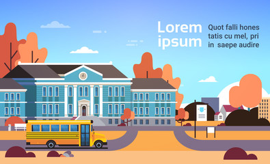 yellow bus in front of school building pupils transport concept 1 september autumn cityscape background flat horizontal copy space vector illustration