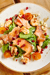 Salmon Salad with Shrimps and Green Mix
