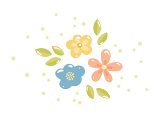 Composition of three colorful flowers with green leaves. Vector set with hand drawn floral elements. Illustration for greeting card, poster, design elements.