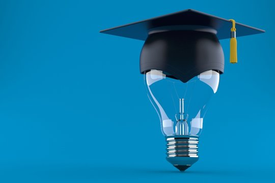 Mortarboard with light bulb