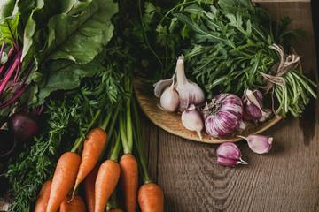 Fresh organic autumnal vegetables