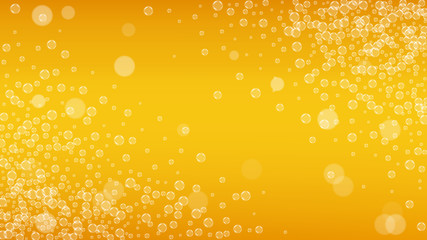 Beer background with realistic bubbles.  Cool liquid drink for pub and bar menu design, banners and flyers.  Yellow horizontal beer background with white foam. Cold glass of ale for brewery design.